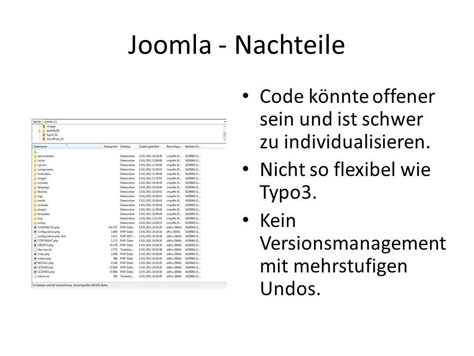 Joomla - Nachteile Code könnte offener sein und ist schwer zu individualisieren.