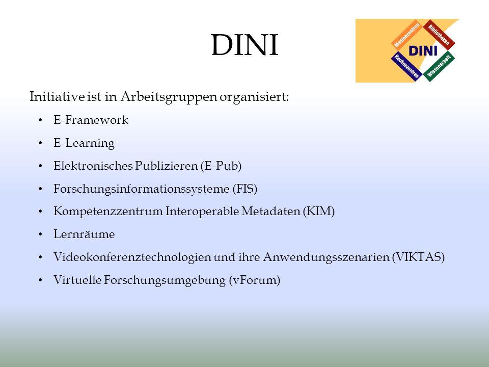 DINI Initiative ist in Arbeitsgruppen organisiert: E-Framework E-Learning Elektronisches Publizieren (E-Pub) Forschungsinformationssysteme (FIS) Kompetenzzentrum Interoperable Metadaten (KIM) Lernräume Videokonferenztechnologien und ihre Anwendungsszenarien (VIKTAS) Virtuelle Forschungsumgebung (vForum)