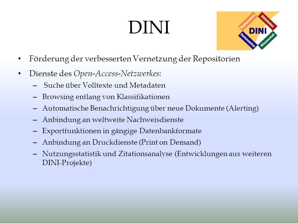 DINI Förderung der verbesserten Vernetzung der Repositorien Dienste des Open-Access-Netzwerkes : – Suche über Volltexte und Metadaten – Browsing entla