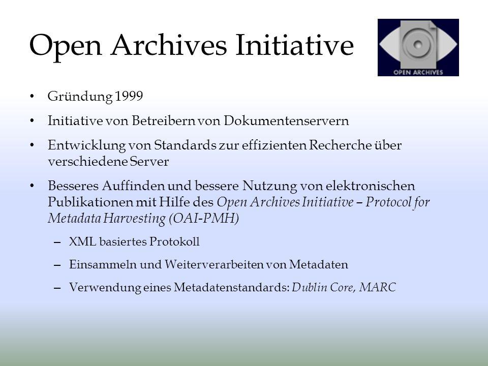 Gründung 1999 Initiative von Betreibern von Dokumentenservern Entwicklung von Standards zur effizienten Recherche über verschiedene Server Besseres Auffinden und bessere Nutzung von elektronischen Publikationen mit Hilfe des Open Archives Initiative – Protocol for Metadata Harvesting (OAI-PMH) – XML basiertes Protokoll – Einsammeln und Weiterverarbeiten von Metadaten – Verwendung eines Metadatenstandards: Dublin Core, MARC Open Archives Initiative