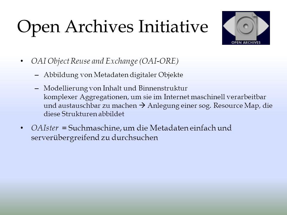 OAI Object Reuse and Exchange (OAI-ORE) – Abbildung von Metadaten digitaler Objekte – Modellierung von Inhalt und Binnenstruktur komplexer Aggregation