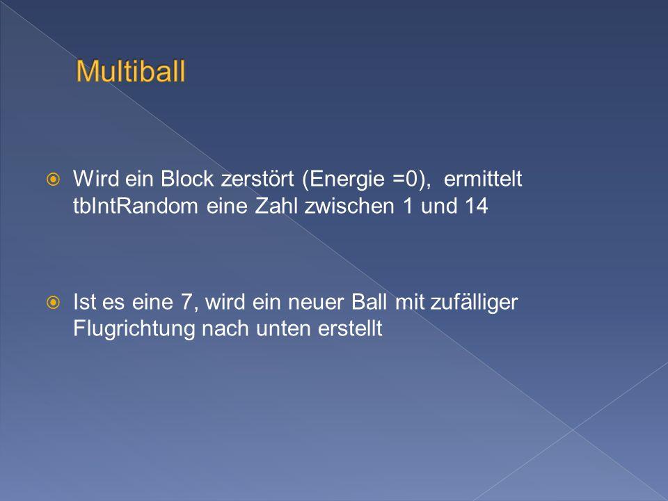 Wird ein Block zerstört (Energie =0), ermittelt tbIntRandom eine Zahl zwischen 1 und 14 Ist es eine 7, wird ein neuer Ball mit zufälliger Flugrichtung nach unten erstellt