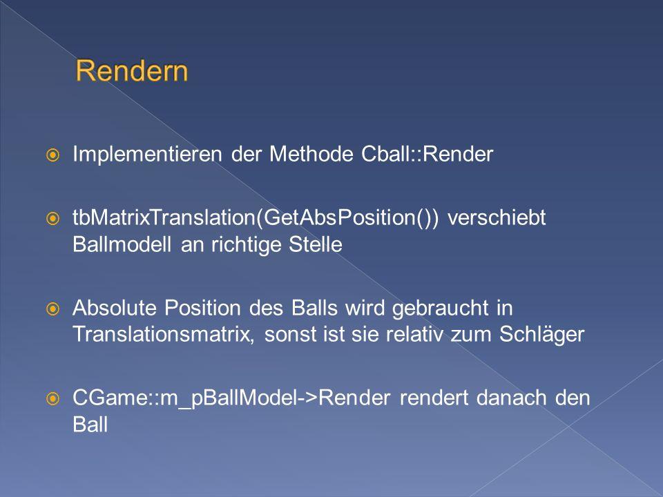 Da alle Sounds schon geladen wurden, geht es nur noch um das abspielen Die Sounds, die im Array CBreakanoid::m_apSound[11] gespeichert sind, werden gebraucht für: CBreakanoid::m_apSound[2]: neuen Level betreten CBreakanoid::m_apSound[3]: Ball abfeuern CBreakanoid::m_apSound[4]: Ball geht verloren CBreakanoid::m_apSound[5]: Ball trifft Schläger CBreakanoid::m_apSound[6]: Extraball-Sound CBreakanoid::m_apSound[7]: Ball prallt an Wand ab CBreakanoid::m_apSound[8-11]: Ball trifft Block, 4 verschiedene Sounds