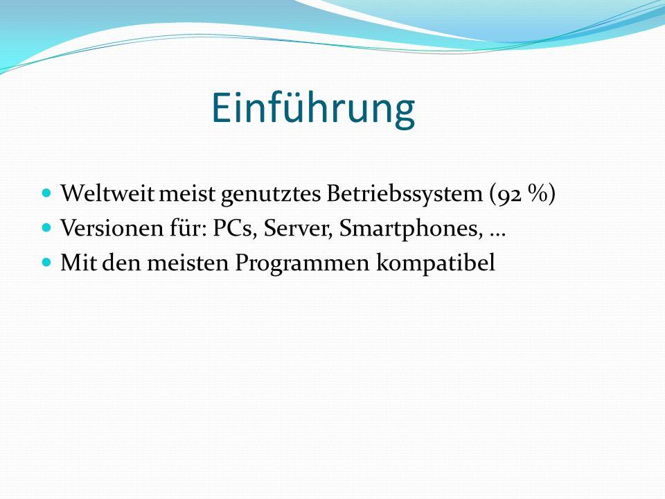 Einführung Weltweit meist genutztes Betriebssystem (92 %) Versionen für: PCs, Server, Smartphones, … Mit den meisten Programmen kompatibel
