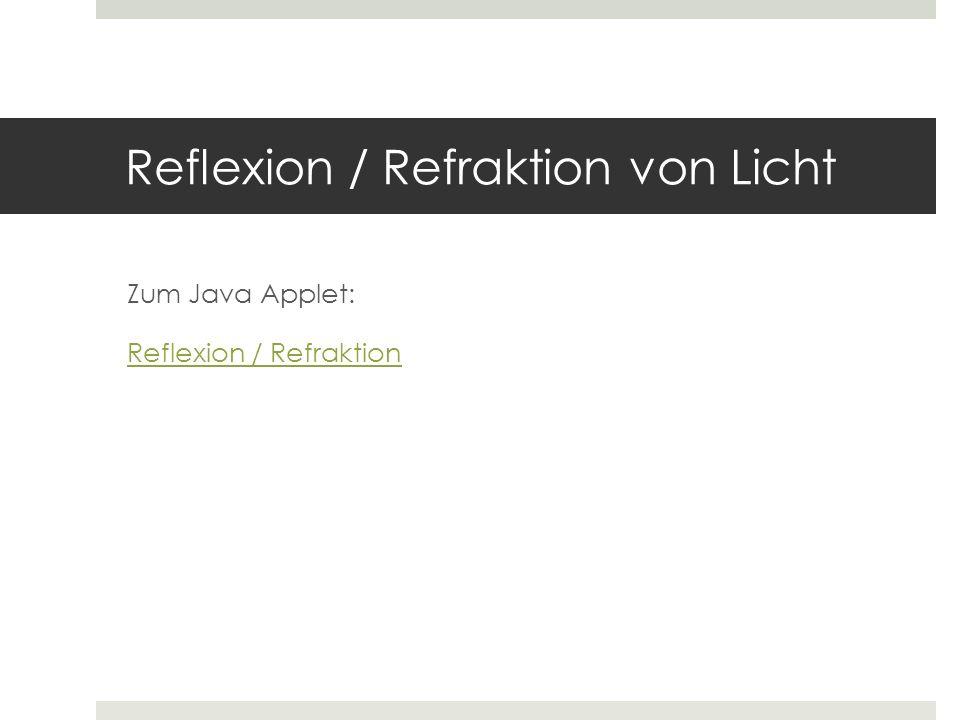 Reflexion / Refraktion von Licht Zum Java Applet: Reflexion / Refraktion