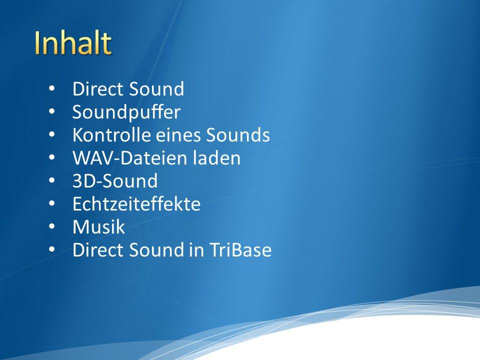 Komponente von DirectX Mischen einer unbegrenzten Anzahl an Sounds Nutzung von Echtzeiteffekten 3D-Sound (!) Alle Sounds werden in Soundpuffern organisiert Mixer mischt alle spielenden Soundpuffer zu einem zusammen und schreibt das Ergebnis zum Abspielen in den primären Soundpuffer
