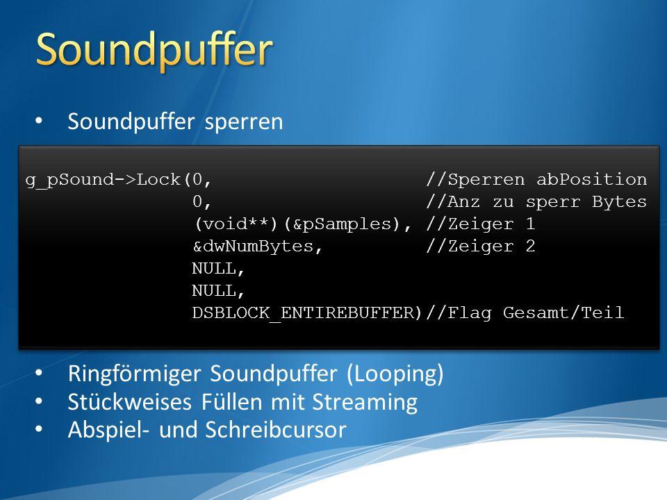 Soundpuffer sperren Ringförmiger Soundpuffer (Looping) Stückweises Füllen mit Streaming Abspiel- und Schreibcursor g_pSound->Lock(0,//Sperren abPosition 0,//Anz zu sperr Bytes (void**)(&pSamples),//Zeiger 1 &dwNumBytes,//Zeiger 2 NULL, DSBLOCK_ENTIREBUFFER)//Flag Gesamt/Teil g_pSound->Lock(0,//Sperren abPosition 0,//Anz zu sperr Bytes (void**)(&pSamples),//Zeiger 1 &dwNumBytes,//Zeiger 2 NULL, DSBLOCK_ENTIREBUFFER)//Flag Gesamt/Teil