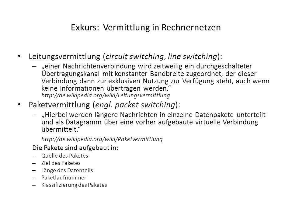 Exkurs: Vermittlung in Rechnernetzen Leitungsvermittlung (circuit switching, line switching): – einer Nachrichtenverbindung wird zeitweilig ein durchg