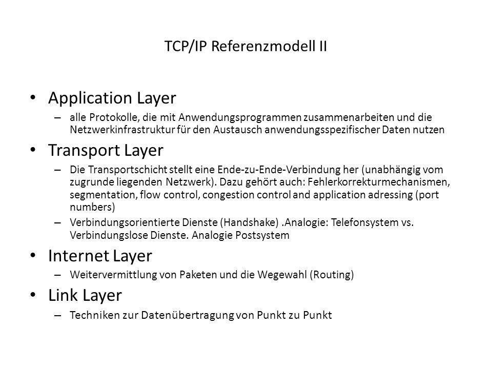 TCP/IP Referenzmodell II Application Layer – alle Protokolle, die mit Anwendungsprogrammen zusammenarbeiten und die Netzwerkinfrastruktur für den Aust