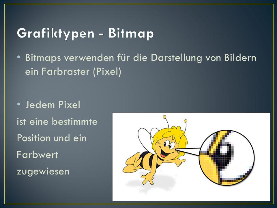 Bitmaps verwenden für die Darstellung von Bildern ein Farbraster (Pixel) Jedem Pixel ist eine bestimmte Position und ein Farbwert zugewiesen