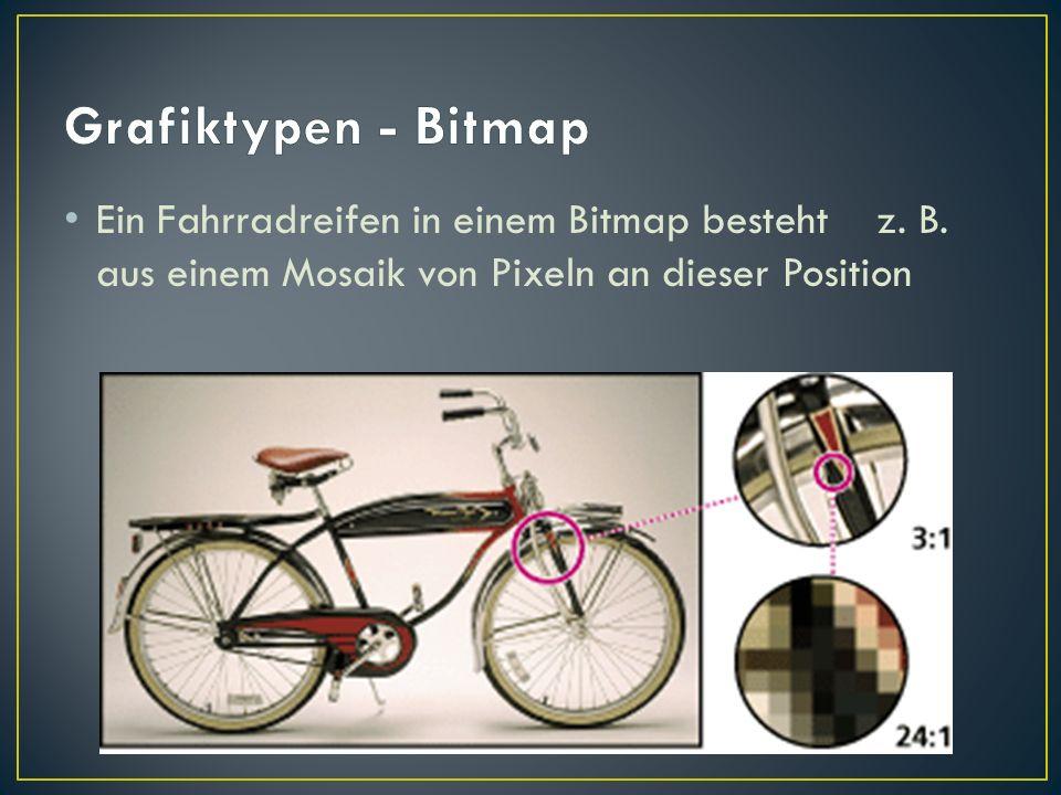 Ein Fahrradreifen in einem Bitmap besteht z. B. aus einem Mosaik von Pixeln an dieser Position