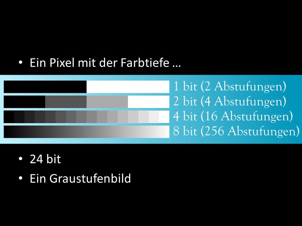 Ein Pixel mit der Farbtiefe … Ein Pixel mit der Farbtiefe … 24 bit Ein Graustufenbild