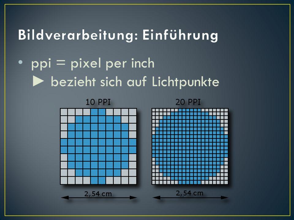 ppi = pixel per inch bezieht sich auf Lichtpunkte
