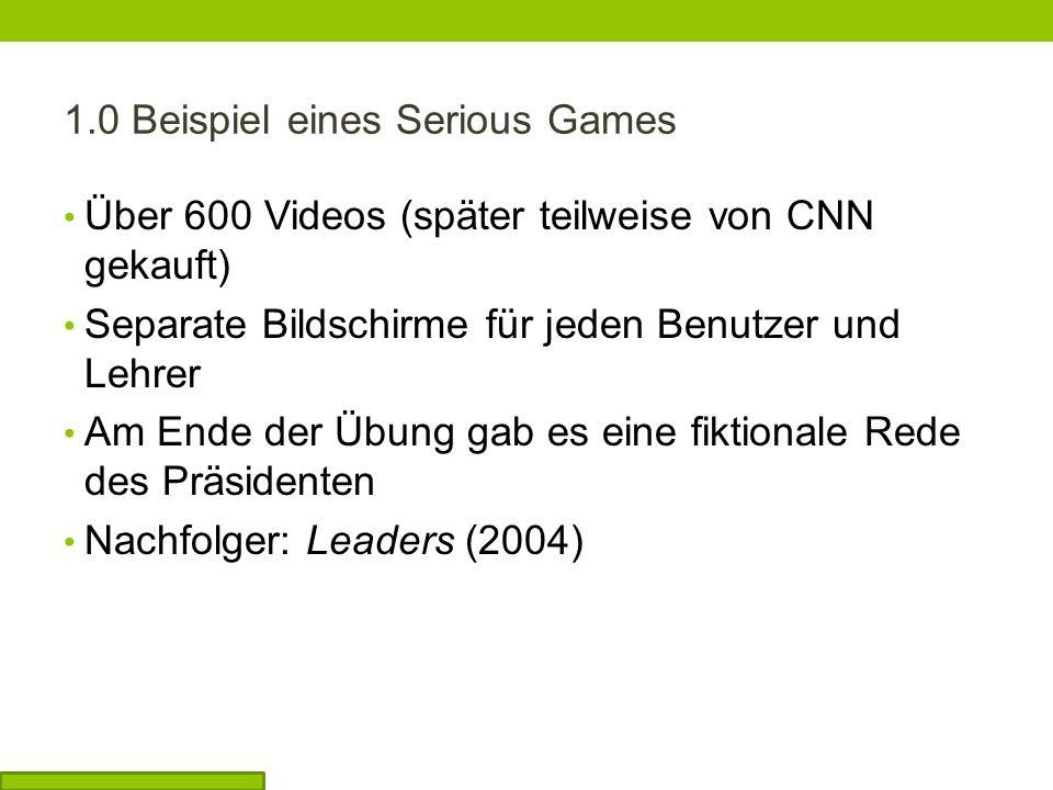 Über 600 Videos (später teilweise von CNN gekauft) Separate Bildschirme für jeden Benutzer und Lehrer Am Ende der Übung gab es eine fiktionale Rede des Präsidenten Nachfolger: Leaders (2004)