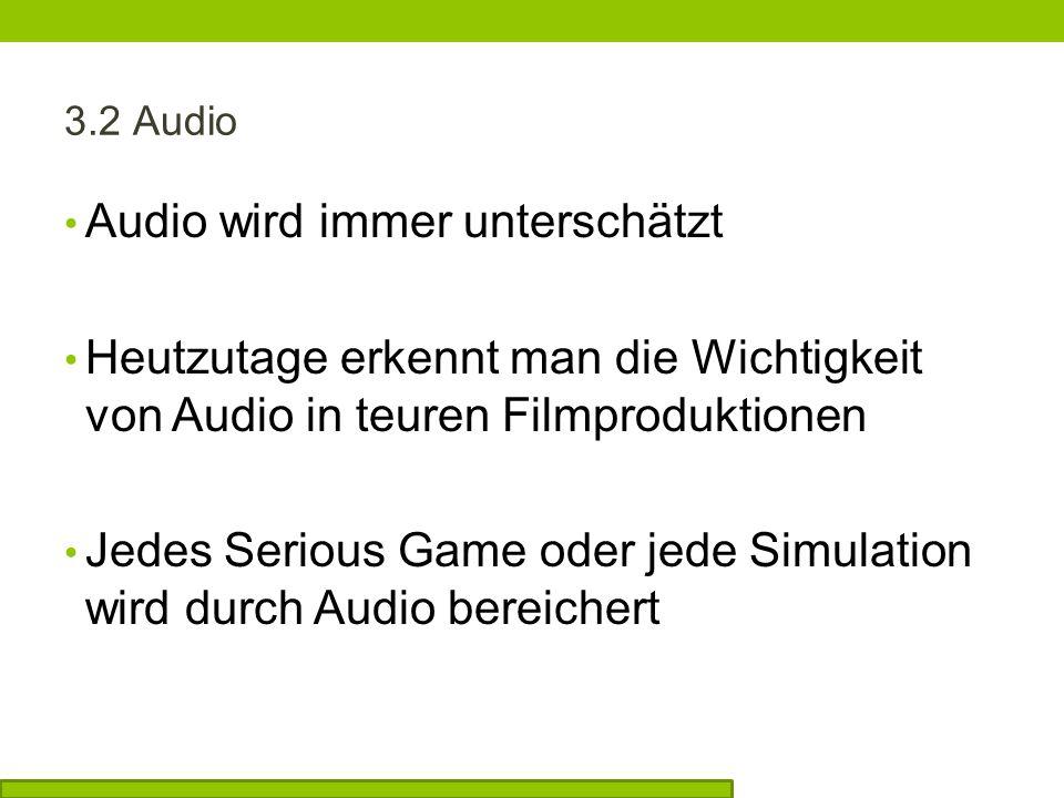 Audio wird immer unterschätzt Heutzutage erkennt man die Wichtigkeit von Audio in teuren Filmproduktionen Jedes Serious Game oder jede Simulation wird durch Audio bereichert