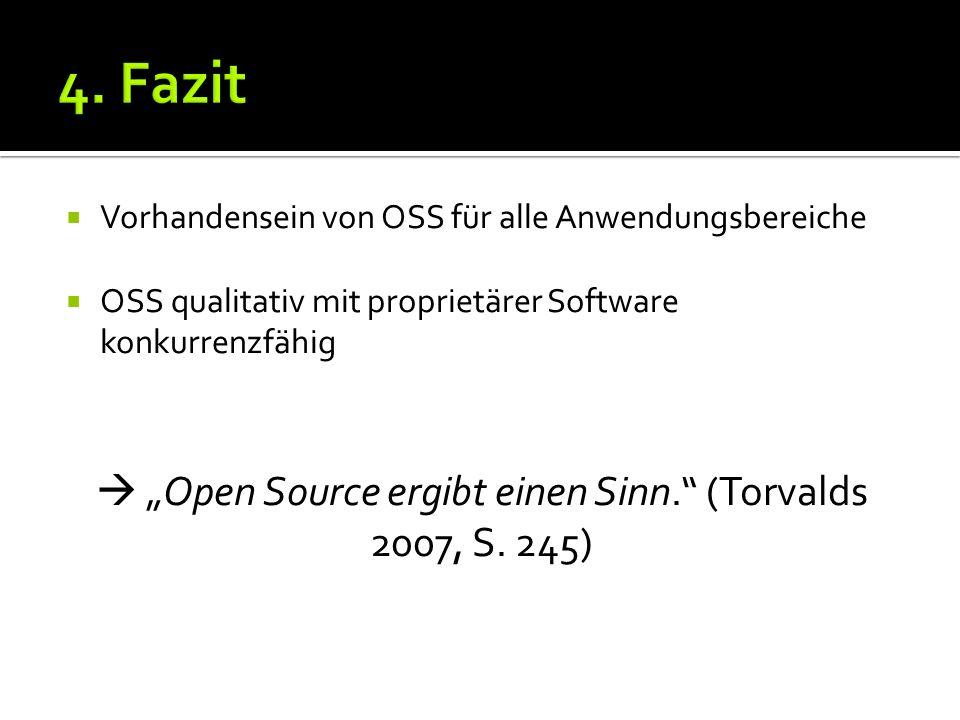 Vorhandensein von OSS für alle Anwendungsbereiche OSS qualitativ mit proprietärer Software konkurrenzfähig Open Source ergibt einen Sinn.