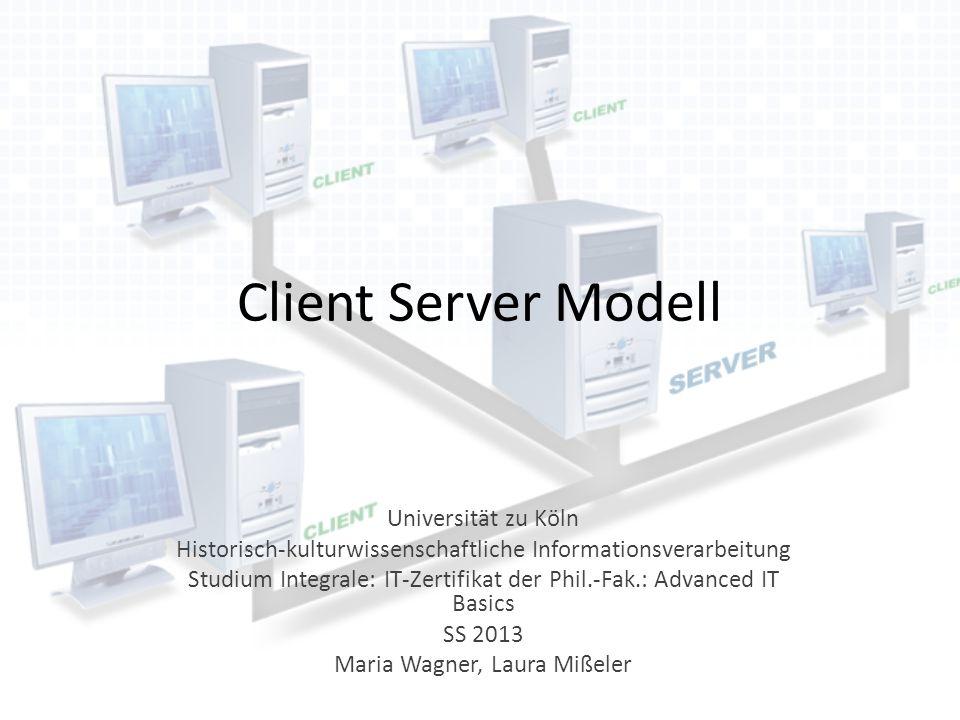 Client Server Modell Universität zu Köln Historisch-kulturwissenschaftliche Informationsverarbeitung Studium Integrale: IT-Zertifikat der Phil.-Fak.: