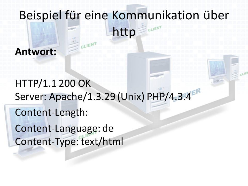 Beispiel für eine Kommunikation über http Antwort: HTTP/1.1 200 OK Server: Apache/1.3.29 (Unix) PHP/4.3.4 Content-Length: Content-Language: de Content