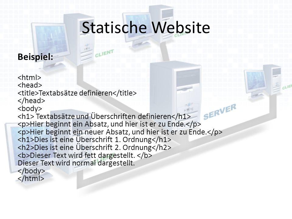 Statische Website Beispiel: Textabsätze definieren Textabsätze und Überschriften definieren Hier beginnt ein Absatz, und hier ist er zu Ende. Hier beg