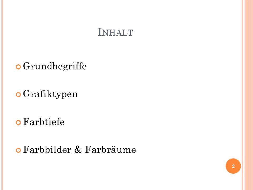I NHALT Grundbegriffe Grafiktypen Farbtiefe Farbbilder & Farbräume 2