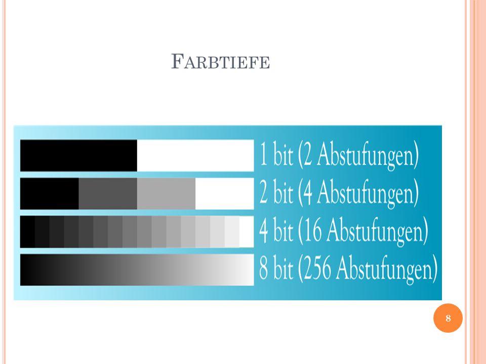 F ARBBILDER & F ARBRÄUME Farbkanäle speichern die Farbinformation von Pixeln 1 Farbkanal pro Grundfarbe Farbräume: - RGB - CMYK - HSB - Lab 9