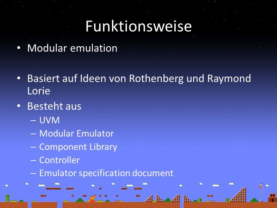 Funktionsweise Modular emulation Basiert auf Ideen von Rothenberg und Raymond Lorie Besteht aus – UVM – Modular Emulator – Component Library – Controller – Emulator specification document