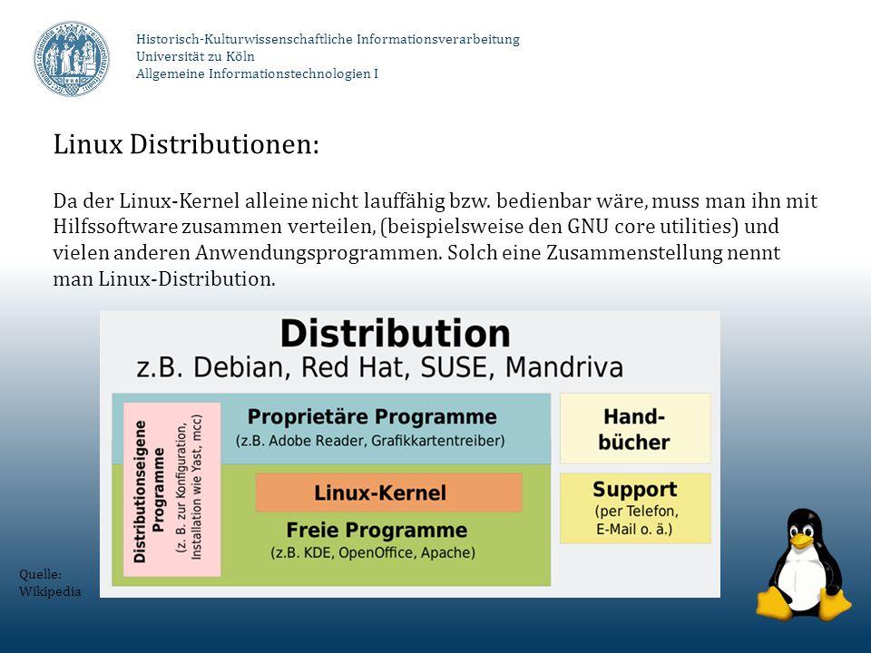 Linux Distributionen: Da der Linux-Kernel alleine nicht lauffähig bzw. bedienbar wäre, muss man ihn mit Hilfssoftware zusammen verteilen, (beispielswe
