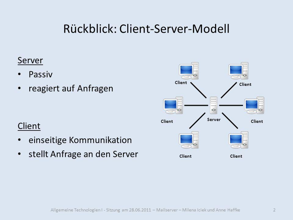 Rückblick: Client-Server-Modell Server Passiv reagiert auf Anfragen Client einseitige Kommunikation stellt Anfrage an den Server Server Client 2Allgem