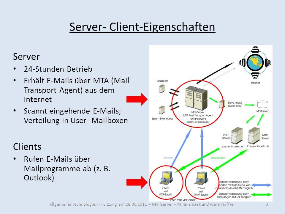 Server- Client-Eigenschaften Server 24-Stunden Betrieb Erhält E-Mails über MTA (Mail Transport Agent) aus dem Internet Scannt eingehende E-Mails; Vert