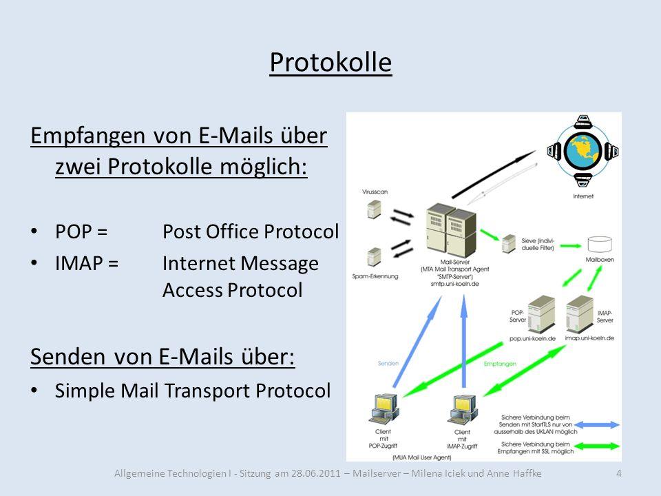 Protokolle Empfangen von E-Mails über zwei Protokolle möglich: POP =Post Office Protocol IMAP =Internet Message Access Protocol Senden von E-Mails übe