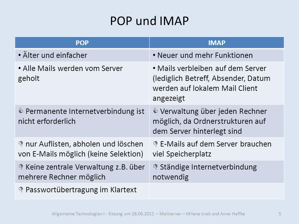 POP und IMAP POPIMAP Älter und einfacher Neuer und mehr Funktionen Alle Mails werden vom Server geholt Mails verbleiben auf dem Server (lediglich Betr