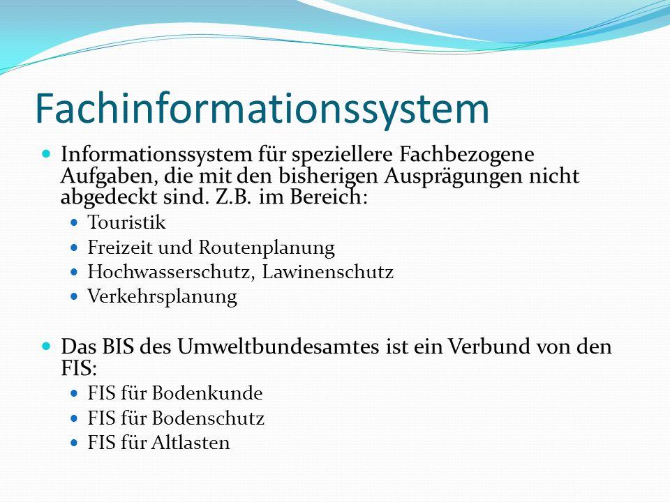 Fachinformationssystem Informationssystem für speziellere Fachbezogene Aufgaben, die mit den bisherigen Ausprägungen nicht abgedeckt sind. Z.B. im Ber