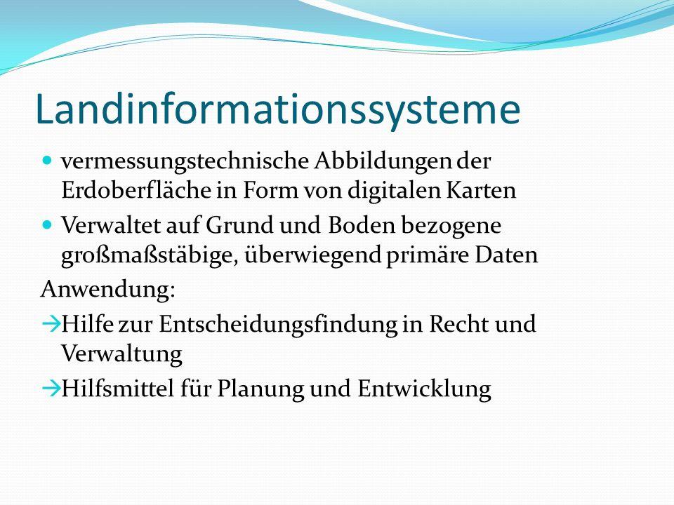 Landinformationssysteme vermessungstechnische Abbildungen der Erdoberfläche in Form von digitalen Karten Verwaltet auf Grund und Boden bezogene großma