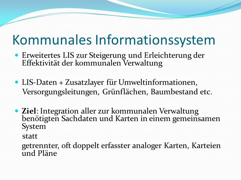 Kommunales Informationssystem Erweitertes LIS zur Steigerung und Erleichterung der Effektivität der kommunalen Verwaltung LIS-Daten + Zusatzlayer für