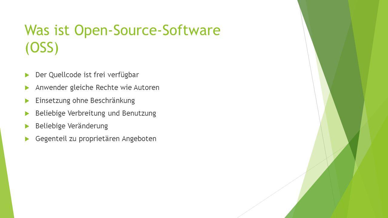 Was ist Open-Source-Software (OSS) Der Quellcode ist frei verfügbar Anwender gleiche Rechte wie Autoren Einsetzung ohne Beschränkung Beliebige Verbrei