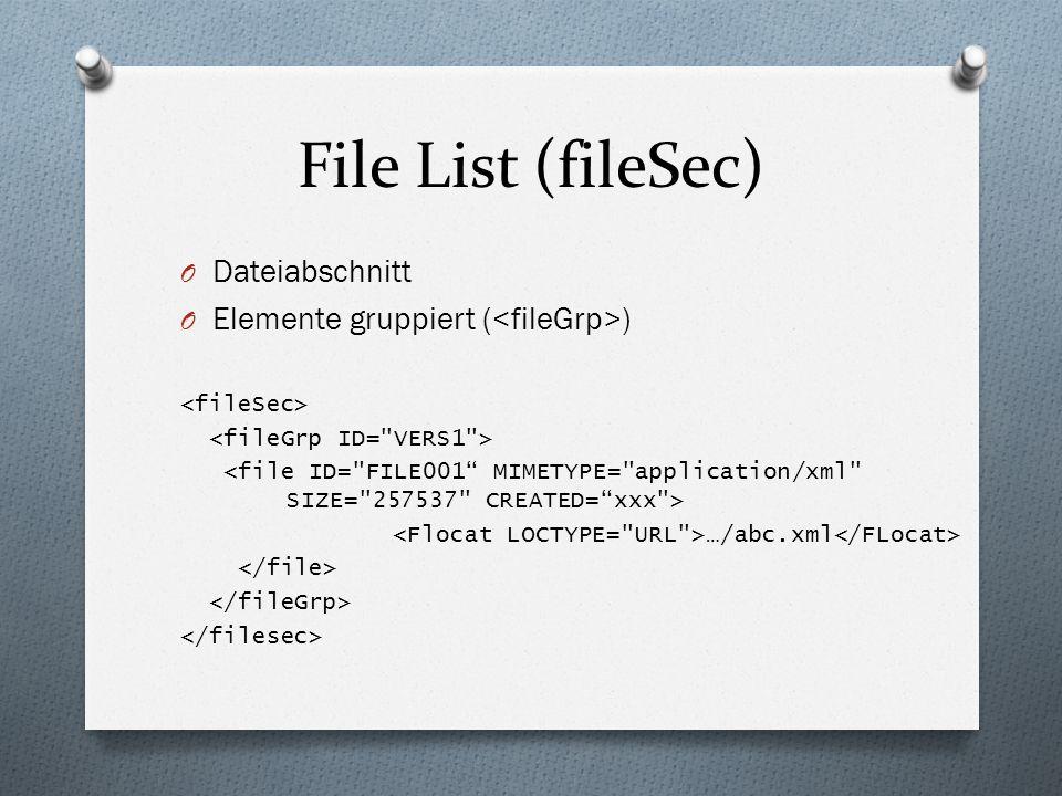 File List (fileSec) O Dateiabschnitt O Elemente gruppiert ( ) …/abc.xml