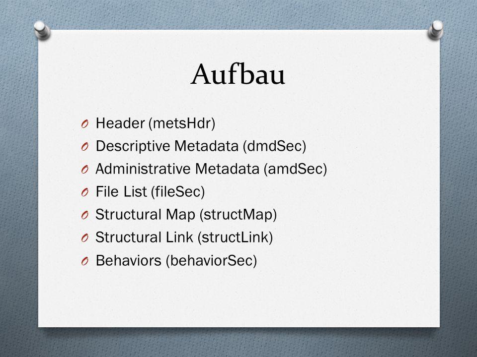 Aufbau O Header (metsHdr) O Descriptive Metadata (dmdSec) O Administrative Metadata (amdSec) O File List (fileSec) O Structural Map (structMap) O Structural Link (structLink) O Behaviors (behaviorSec)