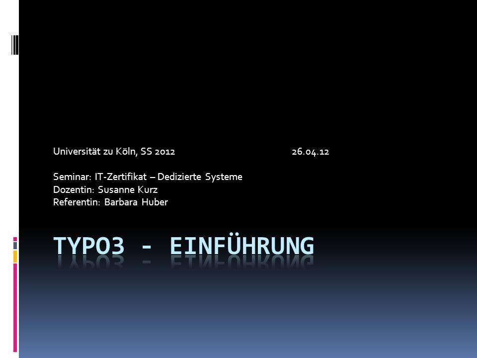 Universität zu Köln, SS 201226.04.12 Seminar: IT-Zertifikat – Dedizierte Systeme Dozentin: Susanne Kurz Referentin: Barbara Huber