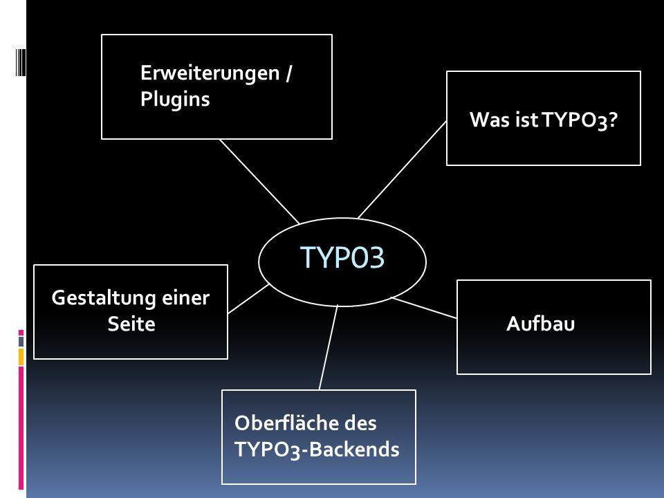 TYPO3 Was ist TYPO3? Aufbau Erweiterungen / Plugins Oberfläche des TYPO3-Backends Gestaltung einer Seite