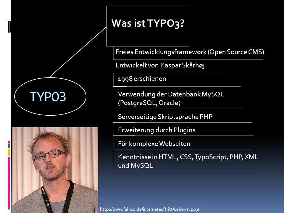 TYPO3 Was ist TYPO3? Freies Entwicklungsframework (Open Source CMS) Entwickelt von Kaspar Skårhøj 1998 erschienen Verwendung der Datenbank MySQL (Post