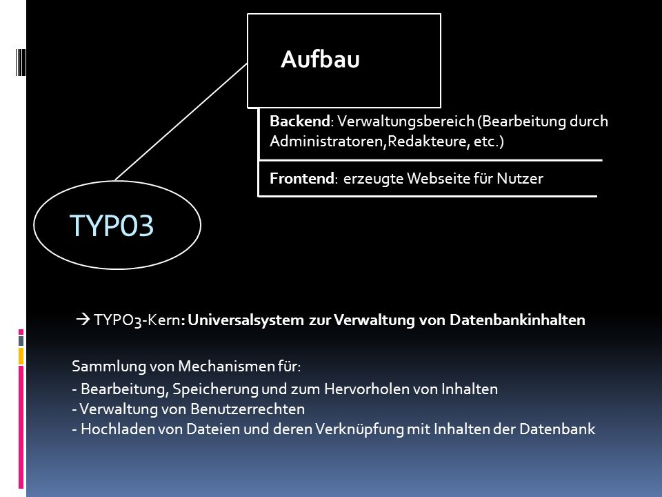 TYPO3 Aufbau Backend: Verwaltungsbereich (Bearbeitung durch Administratoren,Redakteure, etc.) Frontend: erzeugte Webseite für Nutzer TYPO3-Kern: Unive
