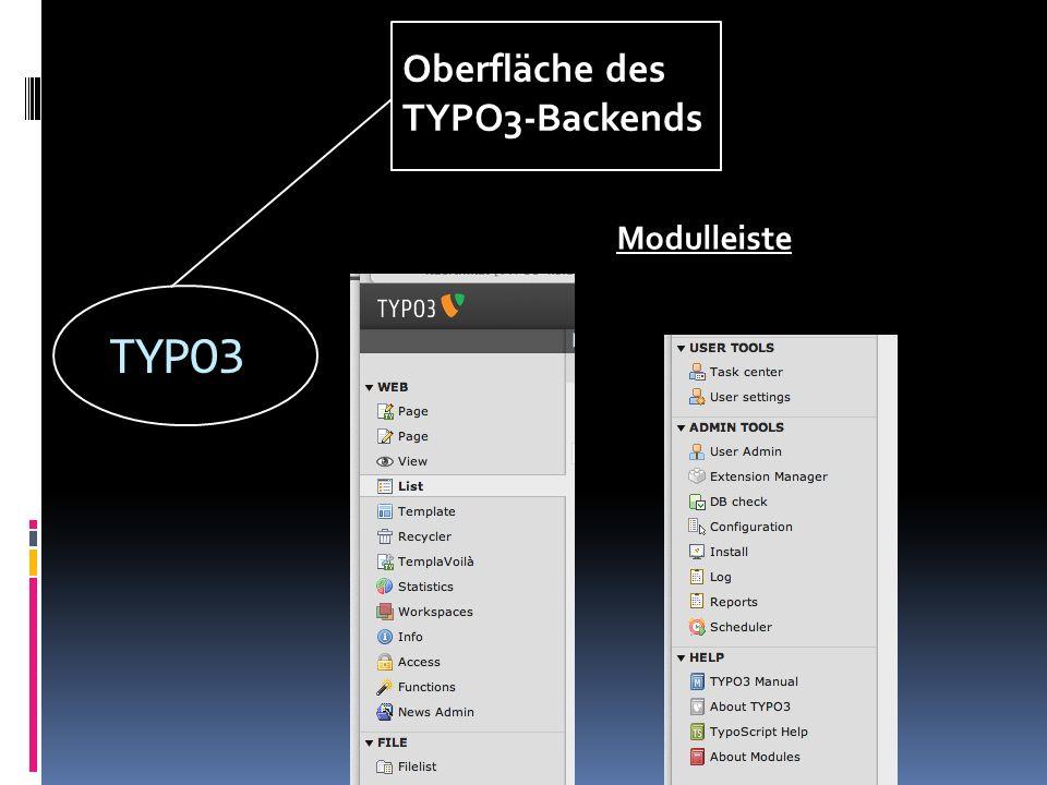 TYPO3 Oberfläche des TYPO3-Backends Modulleiste