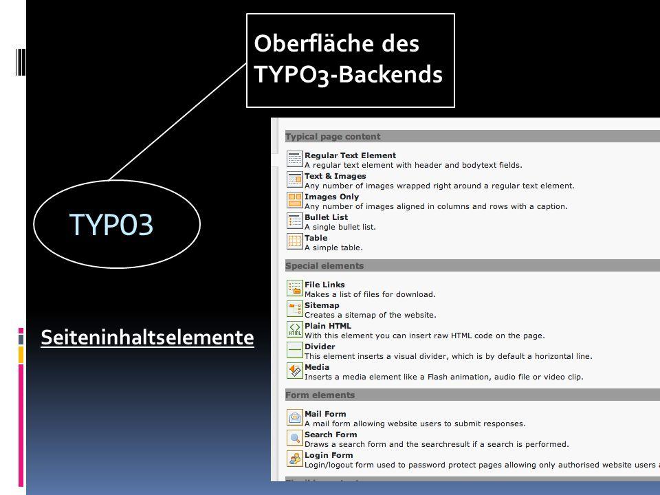 TYPO3 Oberfläche des TYPO3-Backends Seiteninhaltselemente