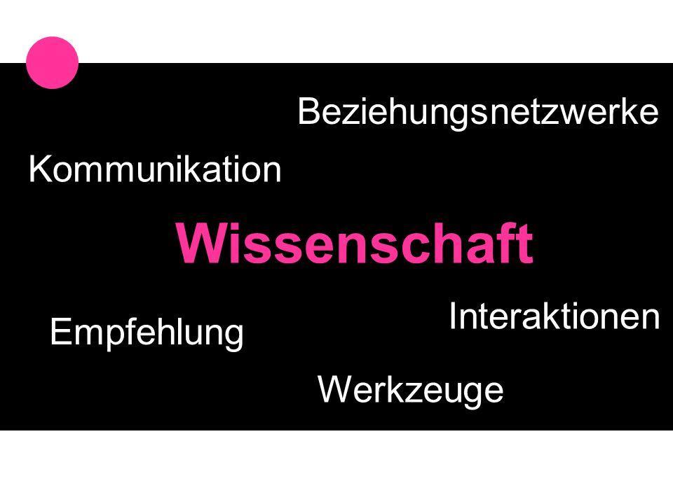Beziehungsnetzwerke Interaktionen Kommunikation Empfehlung Wissenschaft Werkzeuge