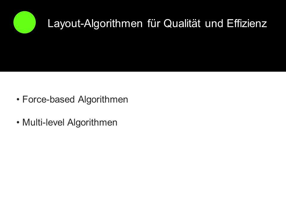 Layout-Algorithmen für Qualität und Effizienz Force-based Algorithmen Multi-level Algorithmen