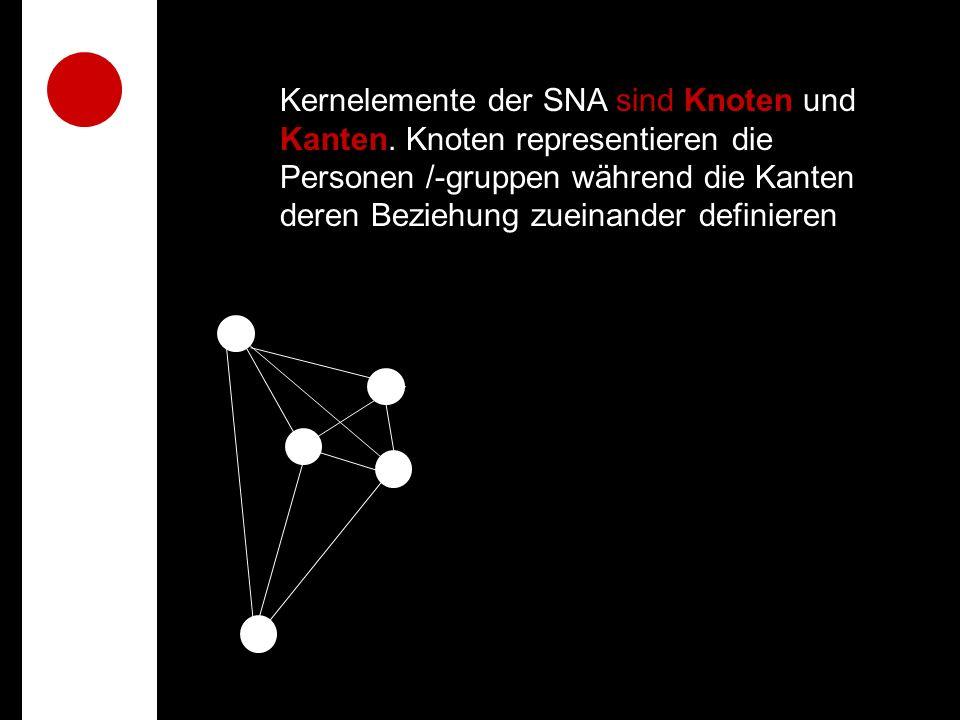 Kernelemente der SNA sind Knoten und Kanten.