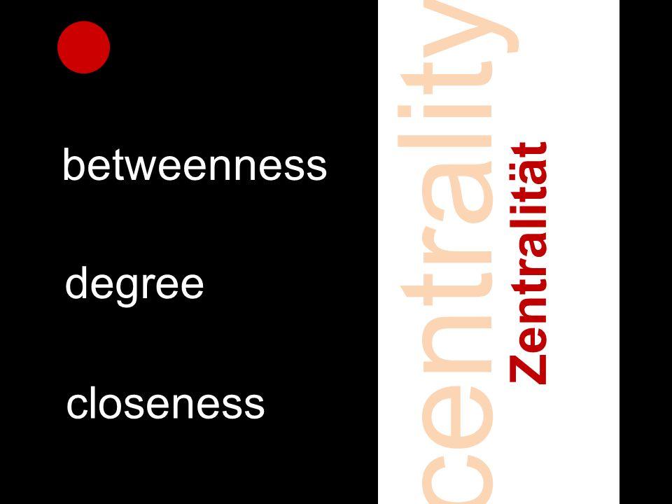 centrality Zentralität betweenness degree closeness