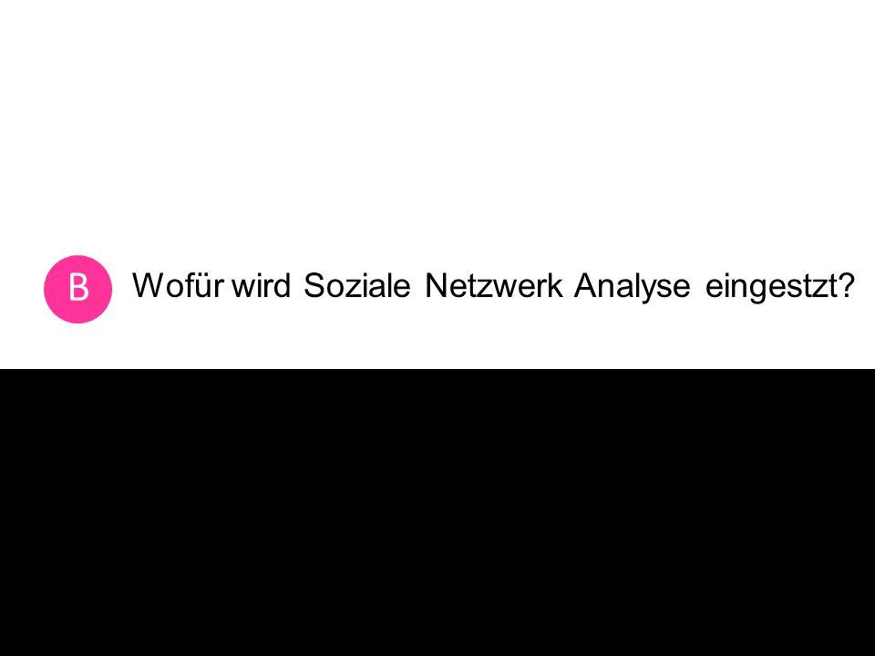 Wofür wird Soziale Netzwerk Analyse eingestzt B