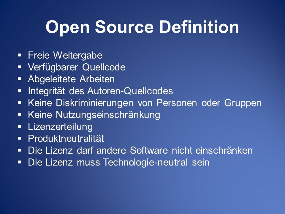 Open Source Definition Freie Weitergabe Verfügbarer Quellcode Abgeleitete Arbeiten Integrität des Autoren-Quellcodes Keine Diskriminierungen von Perso