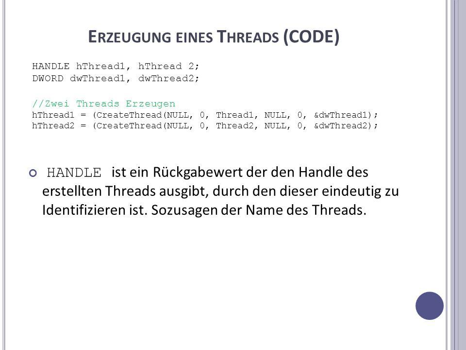 E RZEUGUNG EINES T HREADS (CODE) HANDLE ist ein Rückgabewert der den Handle des erstellten Threads ausgibt, durch den dieser eindeutig zu Identifizieren ist.